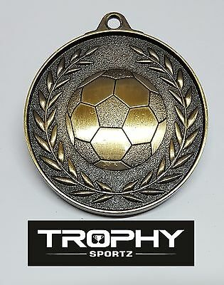 SOCCER MEDAL,TROPHY,50mm Antique Gold ,FREE RIBBON, FREE ENGRAVING.