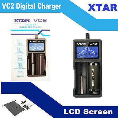 XTAR VC2 LCD 2 Slot Smart Battery Charger 18500 18650 18700 22650 25500 26650