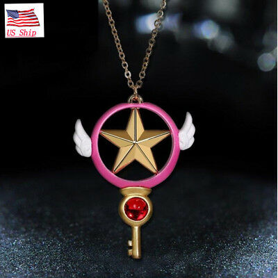 US Anime Card Captor Sakura Kinomoto Star Wand Key Pendant Necklace Cosplay Gift