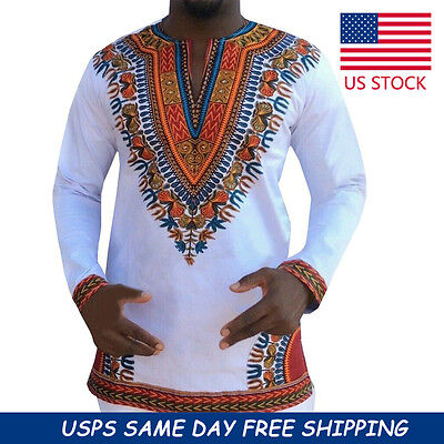 Stylish African Shirt Dashiki Tribal Print Men Women Succunct Hippie Top Blouse
