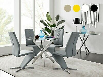 NOVARA Chrome Round Glass Dining Table And 4 Black White Grey Dining Chairs