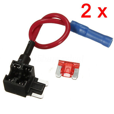 2X  Add A Circuit Mini Blade Fuse Splice Holder ATM APM Piggy Back Fuses Tap 12V