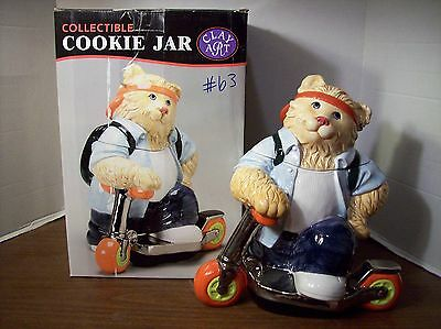 "Clay Art ""Scooter Cat"" Cookie Jar"