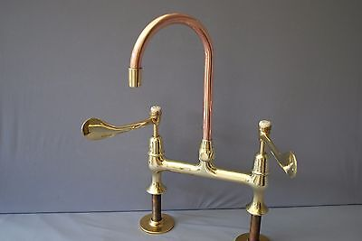 Brass & Copper Deck Mounted Large Lever  Kitchen Taps Reclaimed Fully Refurbed
