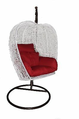 New Pu Rattan Egg Pod Swing Hanging Chair With Cushion White Color H-679