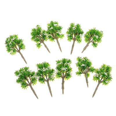 7cm/2.75'' 1:200 Scale 10pcs Green Tree w/ White Flower Miniature Model Tree