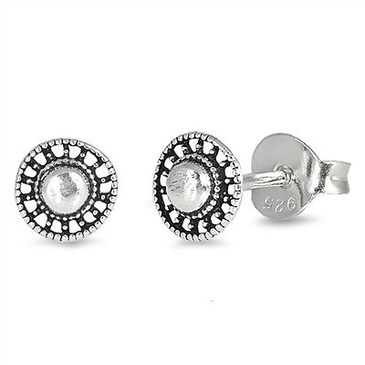 Tiny Oxidised 925 Sterling Silver Bali Style Circle Ear Studs Stud Earrings 4 mm