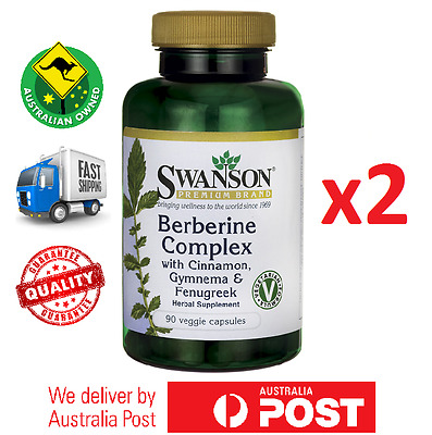2x Berberine Complex 180 Total Caps by Swanson - Blood Glucose Levels Support