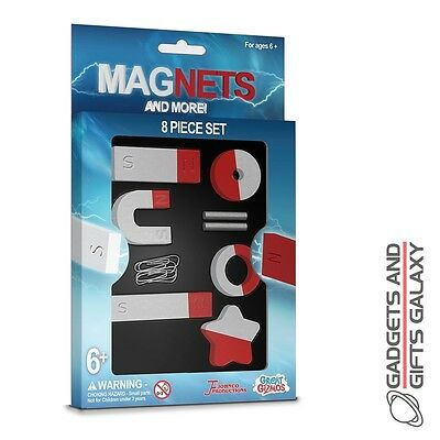 8 PIECE MAGNET SET inc 2 IRON RODS 3 PAPER CLIPS science toy gift childs kids