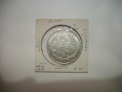 Egypt 1293 Yr.33 10 Qirsh Abdul Hamid Silver foreign coin