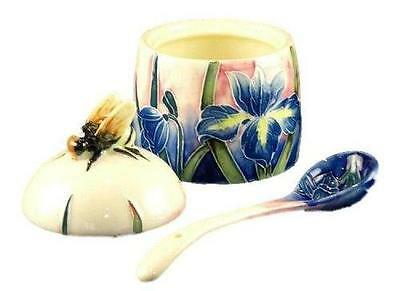 Old Tupton Ware Tube Lined Honey Pot with Spoon Blue Iris Design Boxed