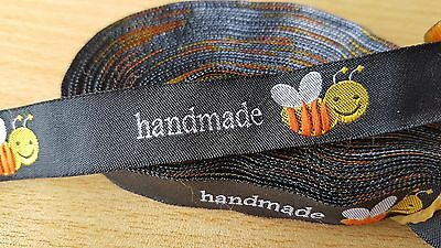 20 HANDMADE logo BEE motif black woven fabric labels clothing knitting sewing UK