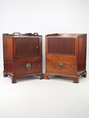 Near Pair Antique Georgian Bedside Cabinets - Tambour Front Tray Top Tables