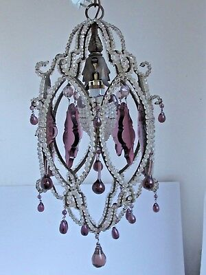 Antique 1920's Beaded Crystal  Chandelier with Purple Prisms and Drops