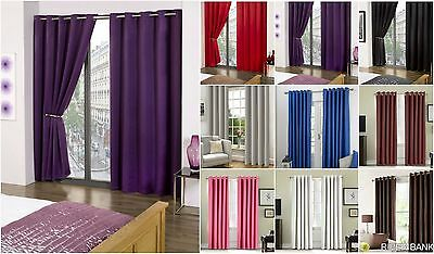 Thermal Blackout Curtains Eyelet Ring Top Fully Lined Solar Pair Ready Made Ties