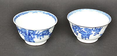 Pair Of Chinese Blue And White Porcelain Cups Kangxi Period Bird