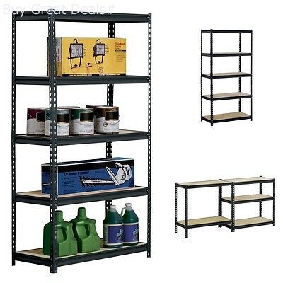 5-Shelf Shelving Unit 36inx72inx18in Storage Edsal Black Steel Heavy Duty New