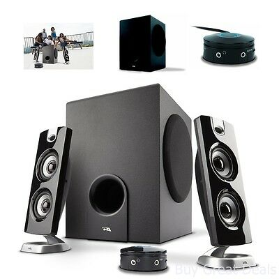 Speakers New! Labtec Pulse 325 PC Speaker System w//Wood Sub-Woofer /& 2