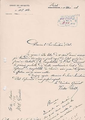 EGYPT Egyptologist FRANCE 1898 LETTER SIGNED By FRANCE VICTOR LORET