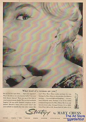 1958 Mary Chess Strategy Perfume What Kind of Women Are You 50s Bottle Photo Ad
