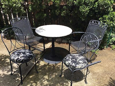 Vintage c1960 Bistro Set Table & 4 Chairs Wrought Iron & Marble LOOK