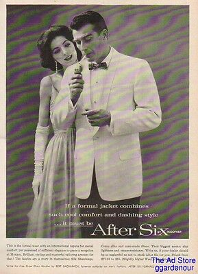 1959 After Six Formal Jacket~Smoking Man~1950s Men's Fashions Vintage Photo Ad