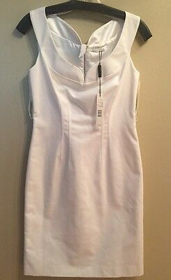 Elie Tahari Gretta Womens White Sheath Sleeveless Dress 2 New