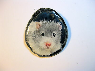 blue hamster brooch/pendant on agate