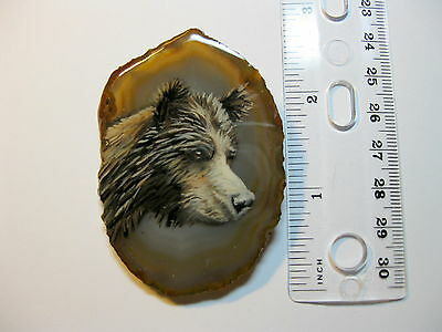grizzly bear brooch/pendant on agate