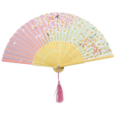 Lace Bamboo Foldable fan Red and green cherry pattern C4X1