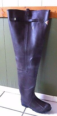 """Vintage LaCrosse Red Ball Outdoorsman 32"""" TALL RUBBER HIP BOOTS WADERS MEN SZ 10"""