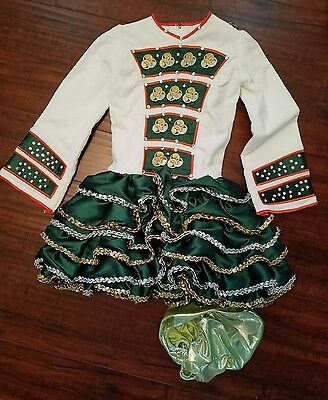 Irish Dance Solo Dress white green orange ~Celtic~silver & Gold sequins~feiss