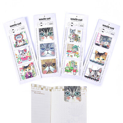 3Pcs/Pack Cats Magnet Bookmark Paper Clip School Office Supply Gift StationeryFO