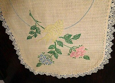 VTG Beige Cotton Table Runner Or Dresser Scarf With Bird & Floral Embroidery