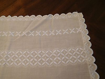 Vintage Beige Cotton Table Runner Or Dresser Scarf With White Embroidery