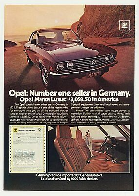1973 Buick Opel Manta Luxus Number One in Germany Ad