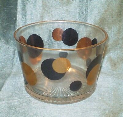 Midcentury modern Glass Ice Bucket,black and gold dots!