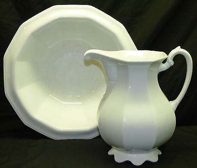 Antique W.S.George Vashti Embossed White Ironstone Wash Pitcher & Bowl Basin Set