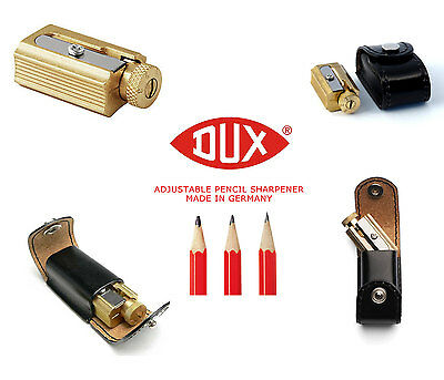 DUX Adjustable Pencil Sharpener - brass w genuine leather case - Made in Germany