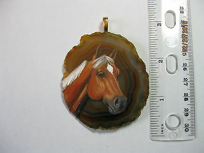 palamino horse pendant on agate