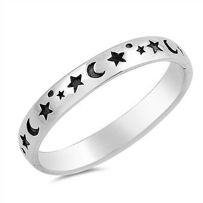 925 Sterling Silver Moon & Stars Stacking Stacker Band Ring 3 mm