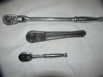 """Lot of 3 Vintage Snap On Ratchets TM70B FN720 & F711A 1/4"""" & 3/8"""" LQQK!"""