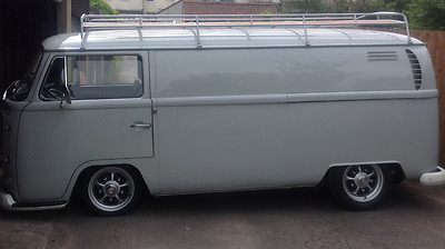 VW T2 Bay 3.1m silver powder coated steel Roof Rack with Solid Beech  C9586