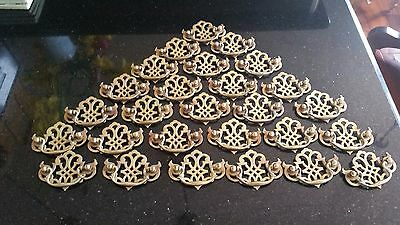 """Vintage Lot of 28 Bat Wing Chippendale Drawer Pulls  Brass Hole Width 2.5"""" NICE"""