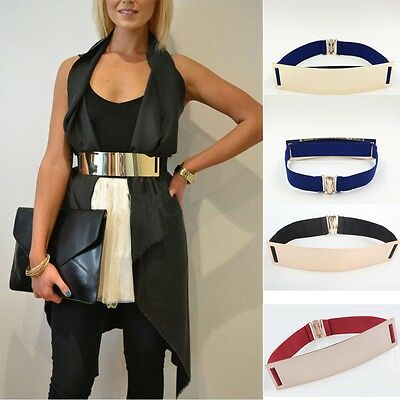 Women Sexy Gold Bling Plate Wide Elastic Belt Mirror Waist Band Leather Metal