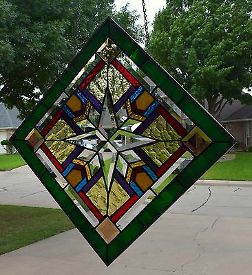 """Mission Style Stained Glass Window Panel """"Beveled Star"""""""