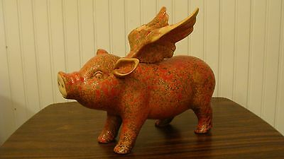 """Amazing Flying Pig Ceramic Figurine By HD Designs Pig With Wings 11.2"""" Long"""