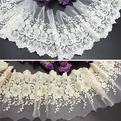 Vintage Embroidered Lace Edge Trim Ribbon Applique DIY Wedding Nice Sewing Craft