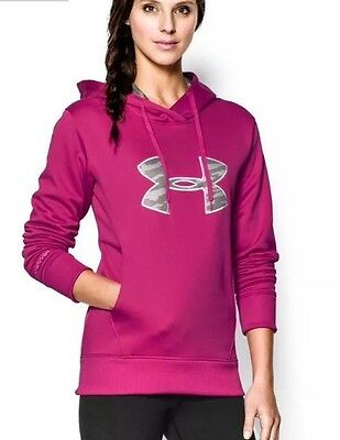 Under Armour UA Crew Neck Pink Pull Over Hoodie Size Small New