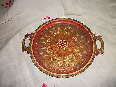 Vintage Hand Painted Gold Gilt red & gold Tole Wooden Tray - Florentine Style